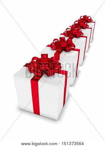 3D Rendering Of Gift Boxes In Row Isolated Over White