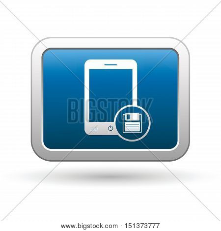 Phone with save menu icon on the button. Vector illustration