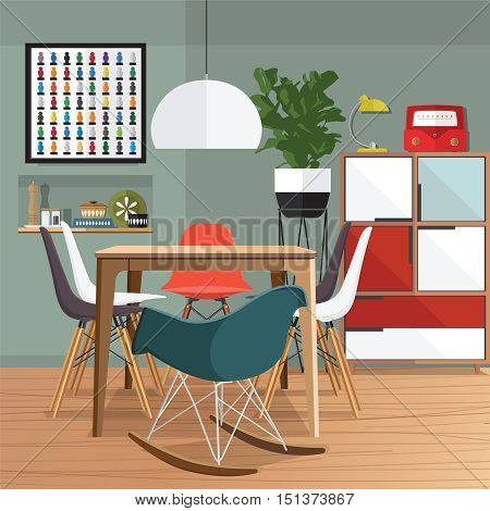 Dinning room with furniture set. Cozy room interior with table stove cupboard and dishes. Flat style vector illustration.