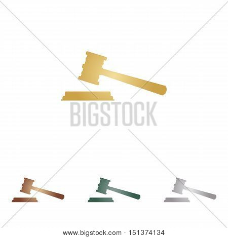 Justice Hammer Sign. Metal Icons On White Backgound.