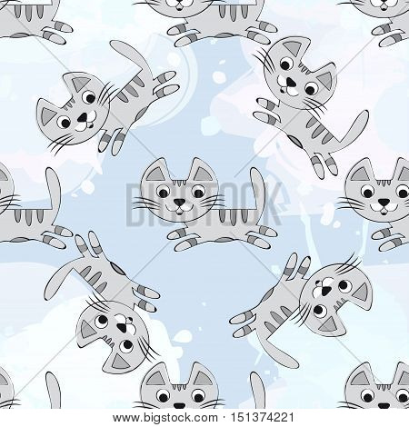 Vector seamless pattern with cute kittens on a blue background. Baby background for fabric, paper, interior design or clothing. Gray cat - stock vector