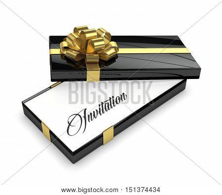 3D Rendering Of Invitation In Elegant Gift Box