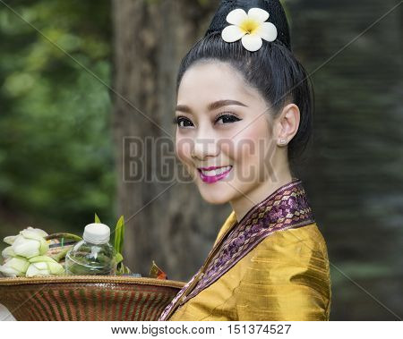 Beautiful girl in Laos costume, Laos women.