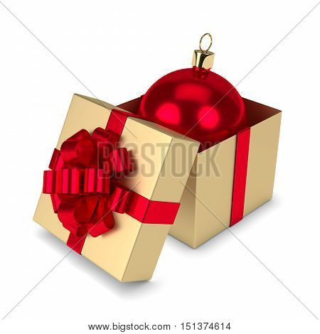 3D Rendering Of Christmas Bauble In Gift Box Isolated Over White