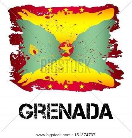 Flag of Grenada from brush strokes in grunge style isolated on white background. Independent state in North America within Commonwealth headed by Great Britain. Vector illustration