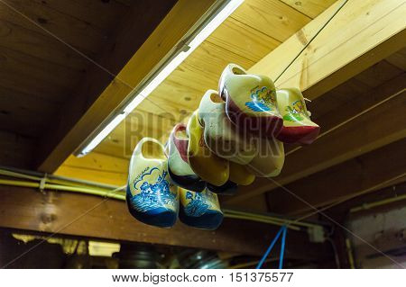 Amsterdam, Netherlands - April 3, 2008: Wooden Clogs  In The Warehouse