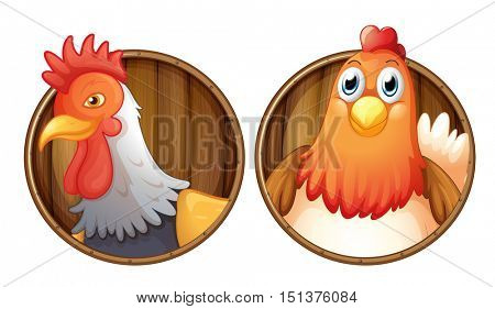Rooster and hen on wooden badge illustration