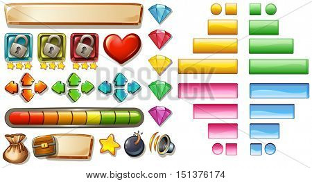 Game elements with buttons and bars illustration