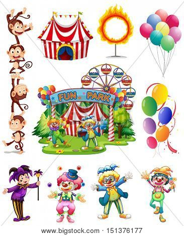 Clowns and other objects from circus illustration