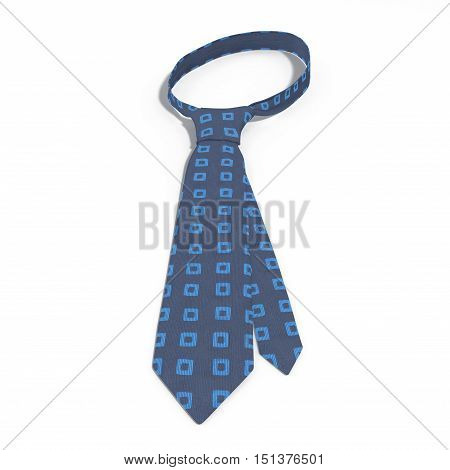 Front view blue tie with square pattern isolated on white background. 3D illustration