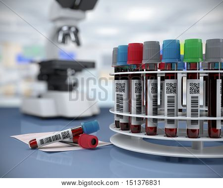 3d render illustration.blood tubes in the laboratory centrifuge.rack with blood tubestest blank