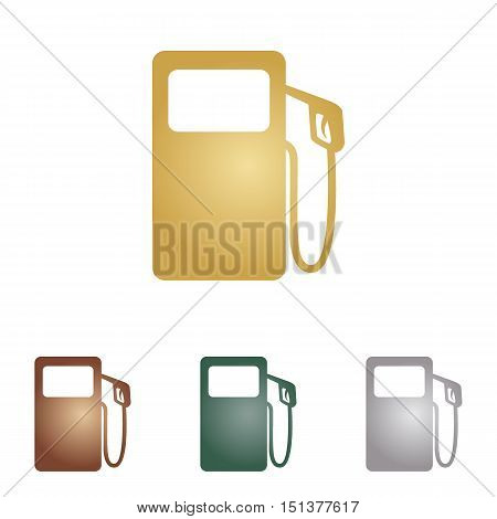 Gas Pump Sign. Metal Icons On White Backgound.