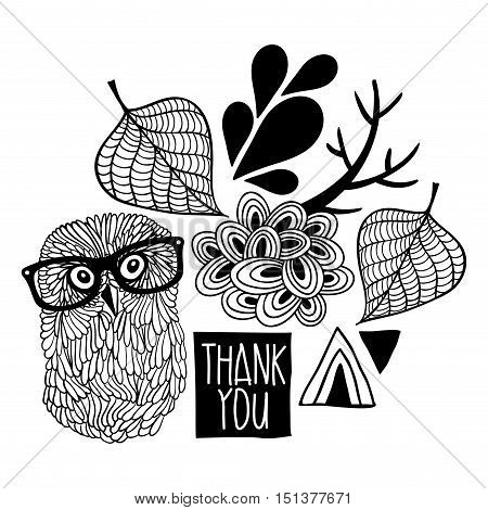 Black and white thankful print. Vector digital design.