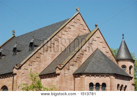 Old Protestant Church In Weilerbach, Germany Closeup