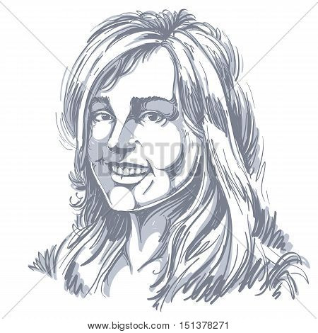 Monochrome vector hand-drawn image smiling glad young woman. Black and white illustration of jolly sincere girl with delicate features.