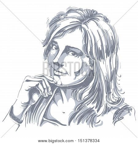 Hand-drawn vector illustration of beautiful romantic loving woman. Monochrome image expressions on face of young lady delicate features.