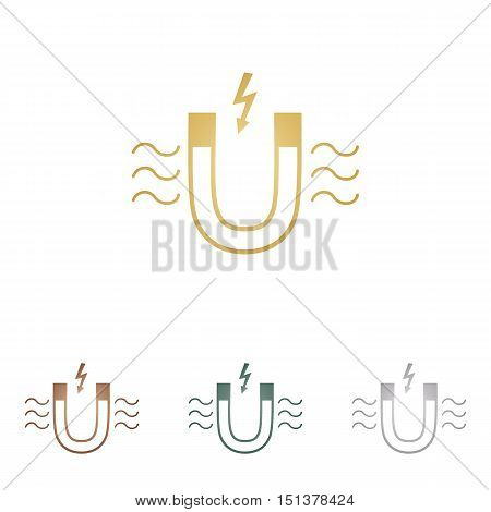 Magnet With Magnetic Force Indication. Metal Icons On White Backgound.