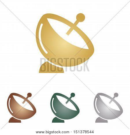 Satellite Dish Sign. Metal Icons On White Backgound.