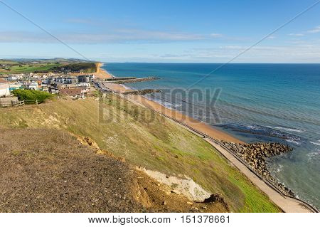 West Bay Dorset uk with blue sky and sea