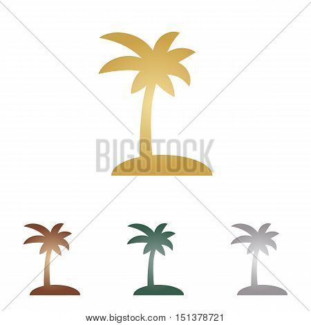 Coconut Palm Tree Sign. Metal Icons On White Backgound.