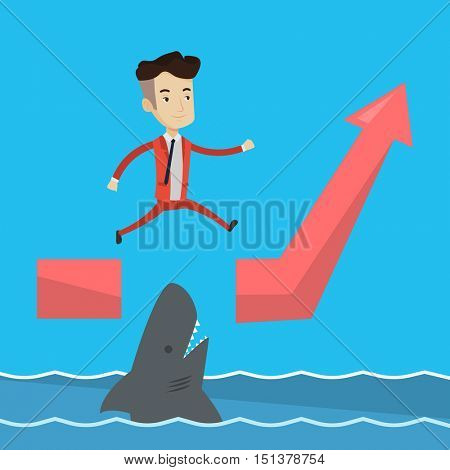 Happy businessman running on ascending graph and jumping over gap. Businessman jumping over ocean with shark. Business growth and business risks concept. Vector flat design illustration. Square layout