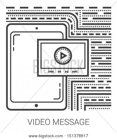 Video message infographic metaphor with line icons. Video message concept for website and infographics. Vector line art icon isolated on white background.