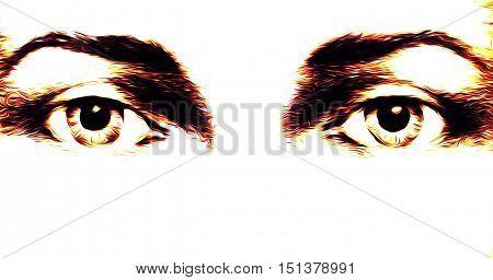 harmonic peaceful spiritual eyes, graphic collage on white background