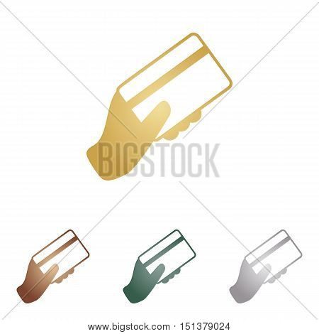 Hand Holding A Credit Card. Metal Icons On White Backgound.