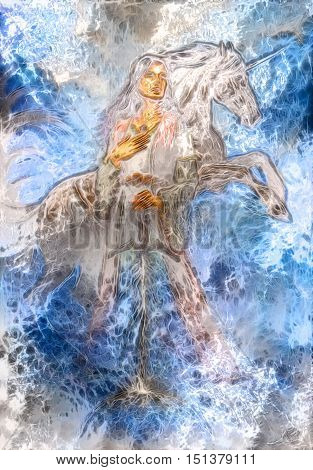 heroic woman in medieval dress with sword and unicorn, computer graphic, winter frost effect