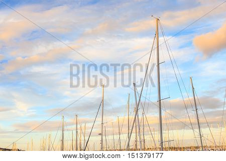 Boats mooring with beautiful blue sky background in Auckland New Zealand.