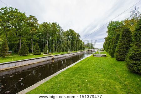 walking Park at Peterhof September 14 2016 St. Petersburg Russia