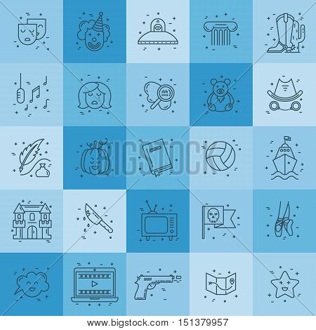 Vector set of movie genres line icons isolated on background. Different film genre elements perfect for infographic or mobile app