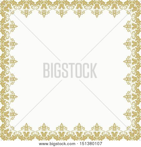 Classic square frame with arabesques and orient elements. Abstract fine ornament with place for text. Golden and white pattern