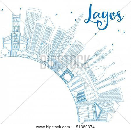 Outline Lagos Skyline with Blue Buildings and Copy Space. Business Travel and Tourism Concept with Modern Architecture. Image for Presentation Banner Placard and Web Site.