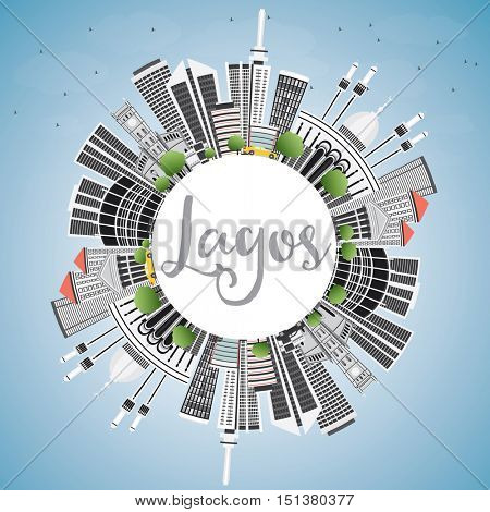 Lagos Skyline with Gray Buildings, Blue Sky and Copy Space. Business Travel and Tourism Concept with Modern Architecture. Image for Presentation Banner Placard and Web Site.