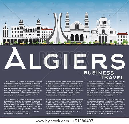 Algiers Skyline with Gray Buildings, Blue Sky and Copy Space. Business Travel and Tourism Concept with Historic Architecture. Image for Presentation Banner Placard and Web Site.