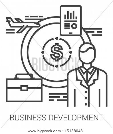 Business development infographic metaphor with line icons. Development of business project concept for website and infographics. Vector line art icon isolated on white background.