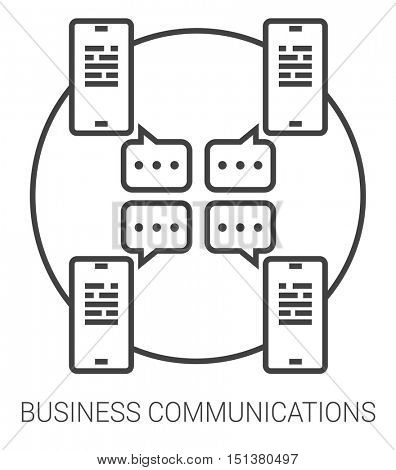 Business communications infographic metaphor with line icons. Business communications concept for website and infographics. Vector line art icon isolated on white background.