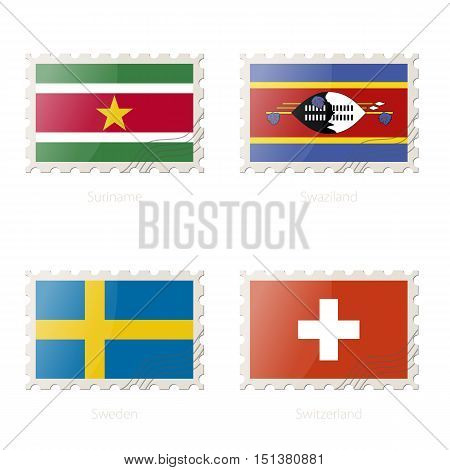Postage Stamp With The Image Of Suriname, Swaziland, Sweden, Switzerland Flag.