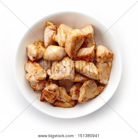 Bowl Of Grilled Chicken Meat From Above
