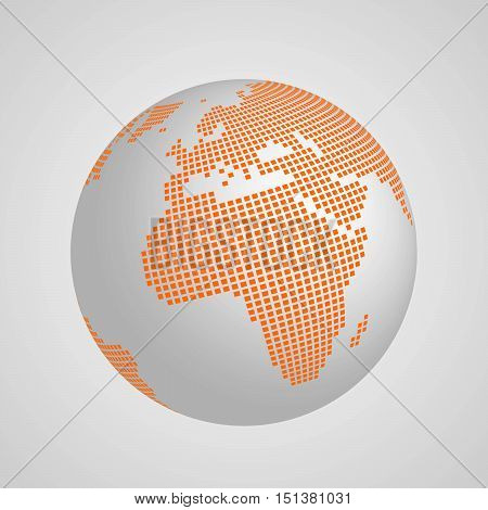 Vector planet Earth globe with orange squared map of continents Africa and Europe. 3D ilustration with shadow and gradient background.