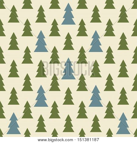Seamless colorful Christmas and New Year pattern of symbolic firs. Simple geometric ornament with green and blue Christmas trees. Vector illustration for various creative projects