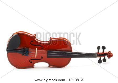 Violin Lying Side Down On White Background