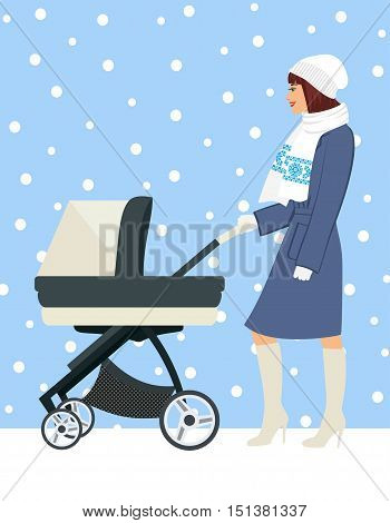 woman with stroller going for a walk in a during lovely winter.young mother pushing baby trolley