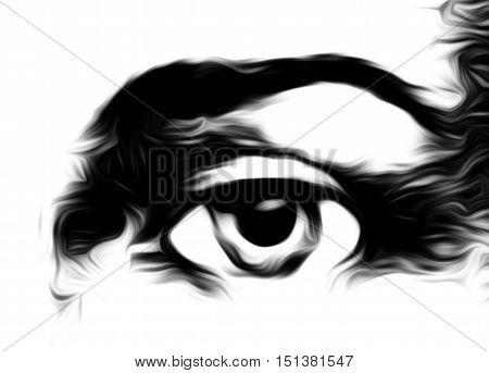harmonic peaceful spiritual eye, graphic collage on white background