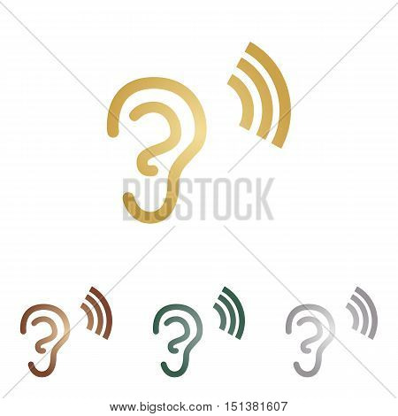 Human Ear Sign. Metal Icons On White Backgound.