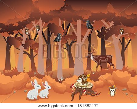 Cartoon Autumn Forest With Animals