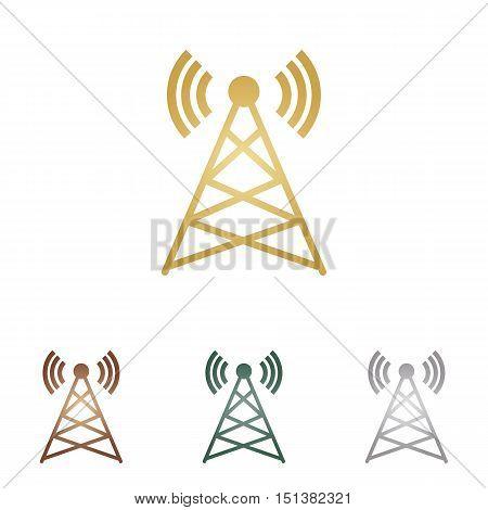 Antenna Sign Illustration. Metal Icons On White Backgound.