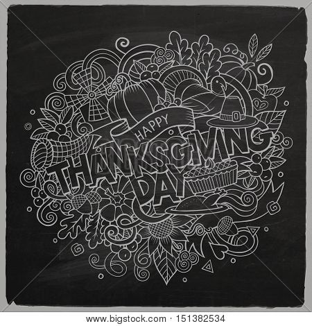 Cartoon cute doodles hand drawn Thanksgiving inscription. Chalkboard illustration with holiday theme items. Line art detailed, with lots of objects background. Funny vector artwork