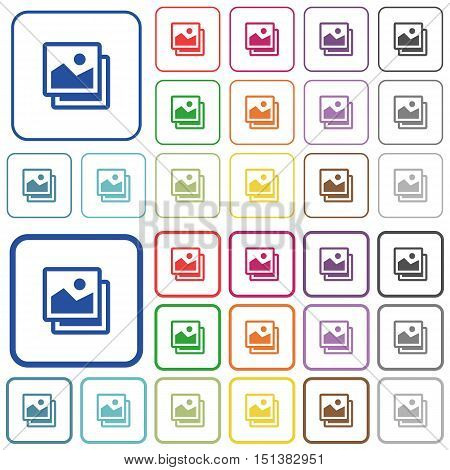 Set of pictures flat rounded square framed color icons on white background. Thin and thick versions included.